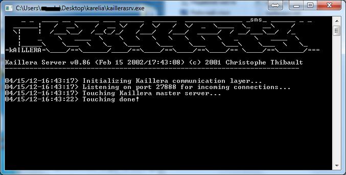 Kaillera server главное окно